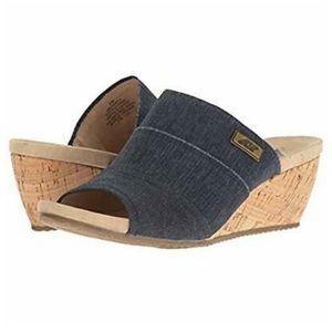 Anne Klein Sport slide wedge denim sandals Chanay